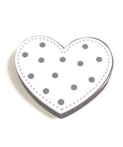 Gri Puantiyeli Kalp Motifli Bebek Kulp Modeli