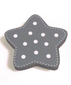 Gri Puantiyeli Yıldız Motifli Bebek Kulp Modeli