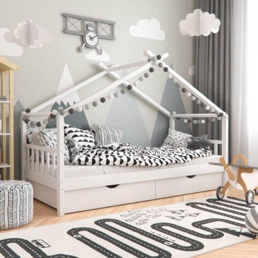 MY82 - 90X190 cm Yatay Çatılı Altı Çekmeceli Beyaz Montessori Yatak