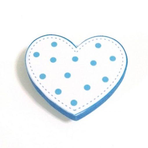 Mavi Puantiyeli Kalp Motifli Bebek Kulp Modeli