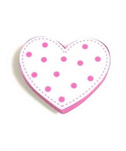 Pembe Puantiyeli Kalp Motifli Bebek Kulp Modeli