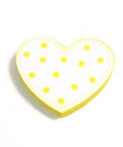 Sarı Puantiyeli Kalp Motifli Bebek Kulp Modeli