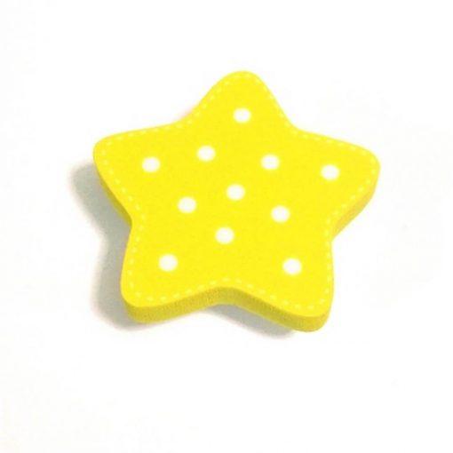 Sarı Puantiyeli Yıldız Motifli Bebek Kulp Modeli