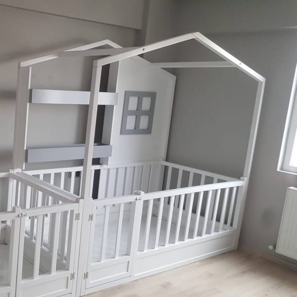 MY94 Kitaplıklı Yatak Montessori Çatılı Yatak