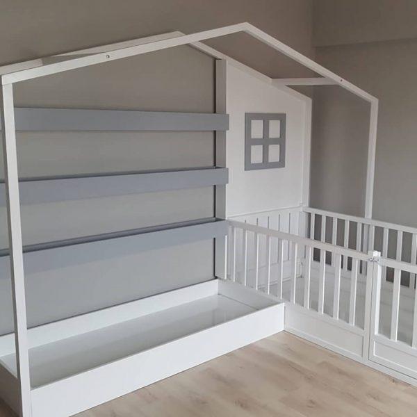 MY95 Kitaplıklı Yatak Montessori İkili Yatak
