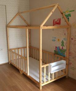 MY96 Kitaplıklı Yatak Montessori Yatak Ahşap Görünümlü