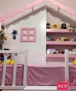 MY99 - Kitaplıklı Yatak Montessori Çatılı Yatak 1