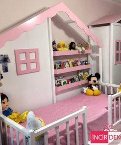 MY99 - Kitaplıklı Yatak Montessori Çatılı Yatak